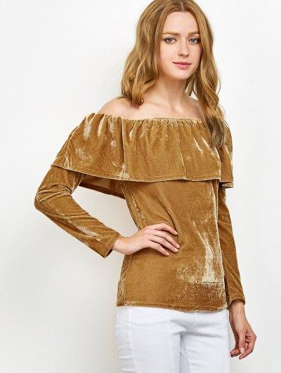 Velvet Off Shoulder Ruffles T-Shirt - GINGER L Mobile