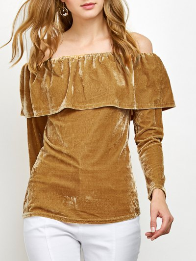 Velvet Off Shoulder Ruffles T-Shirt - GINGER M Mobile