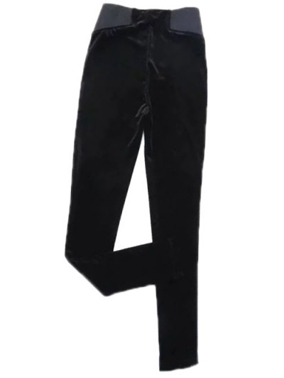 Velvet Narrow Feet Pants - BLACK M Mobile
