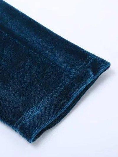 Velvet Narrow Feet Pants - DEEP BLUE M Mobile