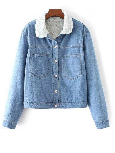 Turndown Collar Faux Shearling Cropped Jean Coat - LIGHT BLUE L Mobile