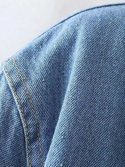 Turndown Collar Faux Shearling Cropped Jean Coat - LIGHT BLUE M Mobile