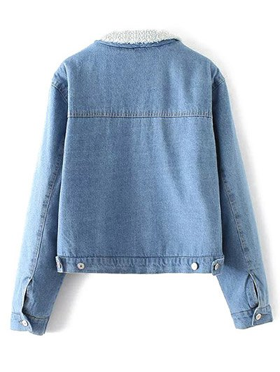 Turndown Collar Faux Shearling Cropped Jean Coat - LIGHT BLUE S Mobile