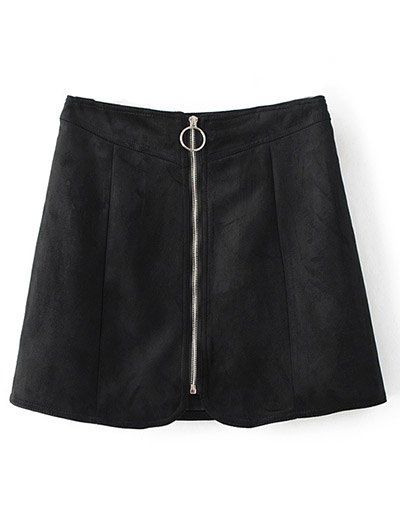 Zippered Suede Mini Skirt - BLACK M Mobile