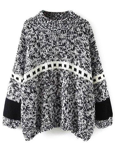 Batwing Sleeve Heathered Mock Neck Sweater - BLACK ONE SIZE Mobile