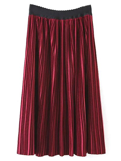 Pleated Velvet Maxi A Line Skirt - BURGUNDY L Mobile