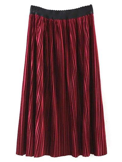 Pleated Velvet Maxi A Line Skirt - BURGUNDY M Mobile