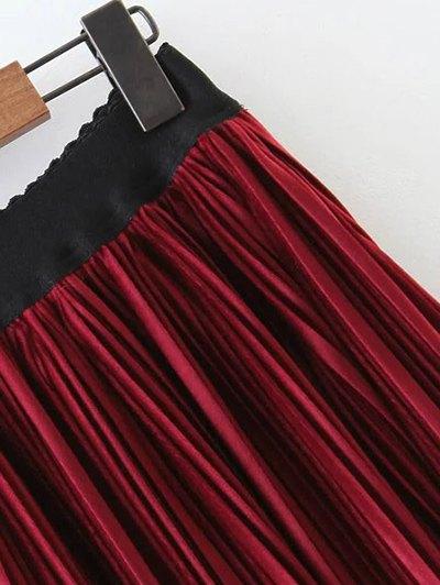 Pleated Velvet Maxi A Line Skirt - BLACK L Mobile