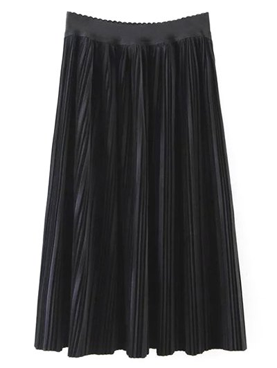 Pleated Velvet Maxi A Line Skirt - BLACK M Mobile