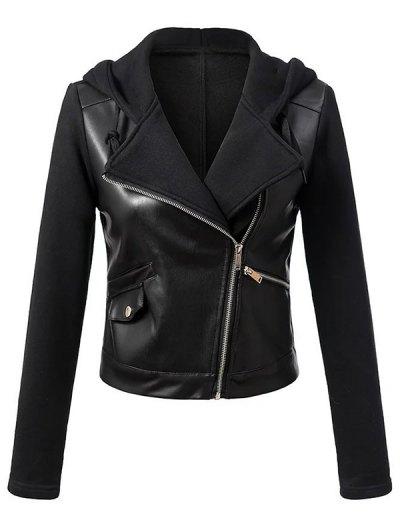 Hooded PU Leather Panel Jacket - BLACK L Mobile