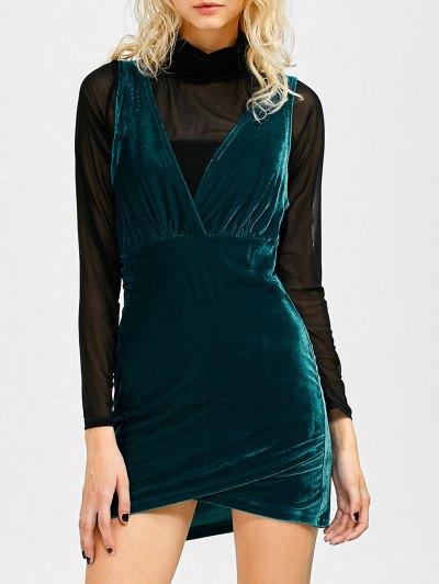 Sleeveless Velvet Mini Dress - Peacock Blue