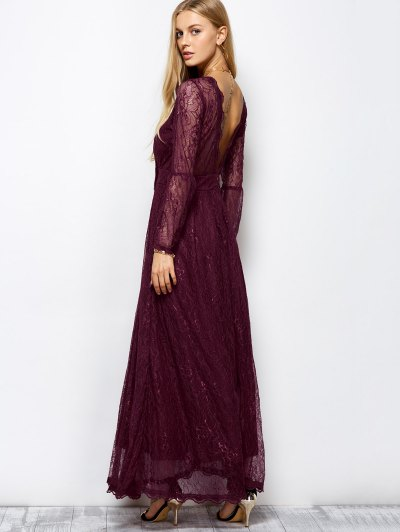 Floral Lace Evening Dress - WINE RED L Mobile