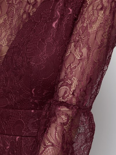 Floral Lace Evening Dress - WINE RED M Mobile