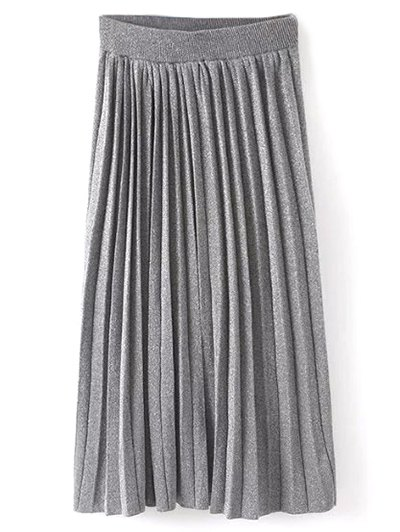 Knitted Pleated Maxi Skirt - GRAY ONE SIZE Mobile