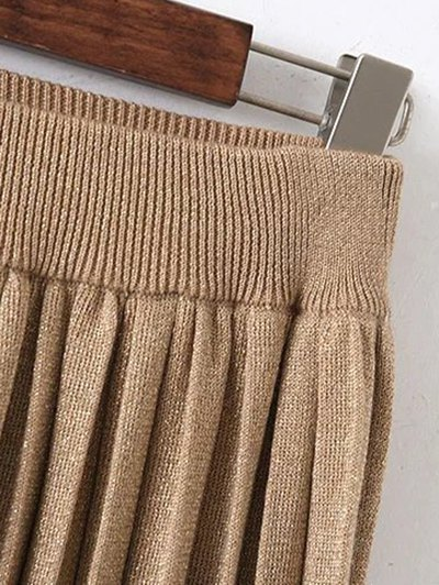 Knitted Pleated Maxi Skirt - KHAKI ONE SIZE Mobile