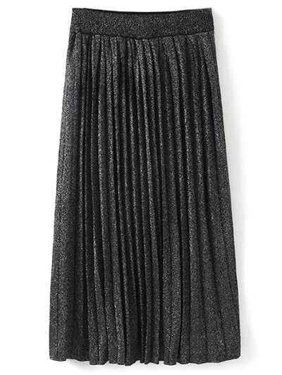 Knitted Pleated Maxi Skirt - BLACK ONE SIZE Mobile