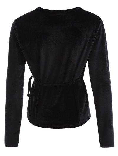 Long Sleeve Velvet Wrap Top - BLACK S Mobile
