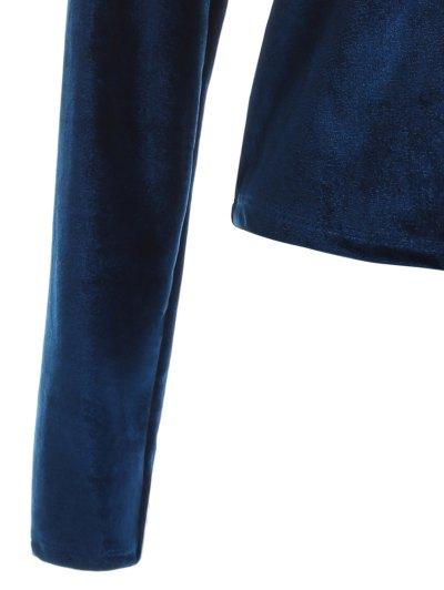 Long Sleeve Velvet Wrap Top - CADETBLUE M Mobile