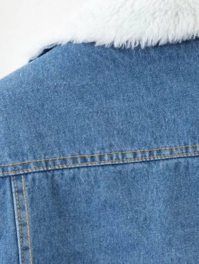 Faux Shearling Floral Embroidered Jean Coat - DENIM BLUE L Mobile