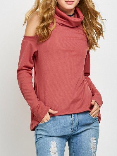 Cold Shoulder Turtle Neck Knitwear - RED XL Mobile