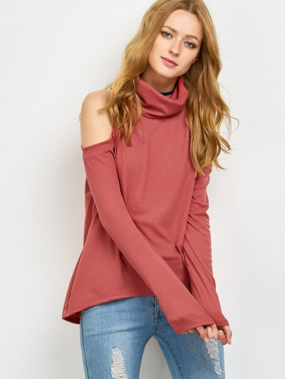 Cold Shoulder Turtle Neck Knitwear - RED L Mobile