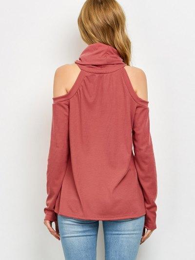 Cold Shoulder Turtle Neck Knitwear - RED S Mobile