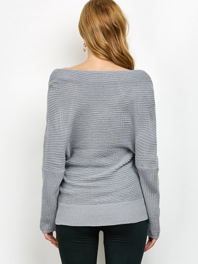 Wrap Front Sweater - GRAY ONE SIZE Mobile