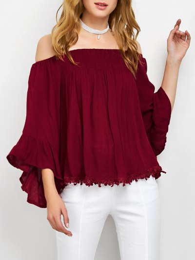 Smocked Off The Shoulder Top - RED L Mobile
