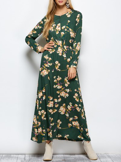 Long Sleeves Maxi Floral Dress - GREEN S Mobile