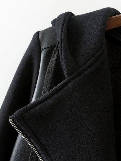 Hooded PU Leather Panel Jacket - BLACK S Mobile