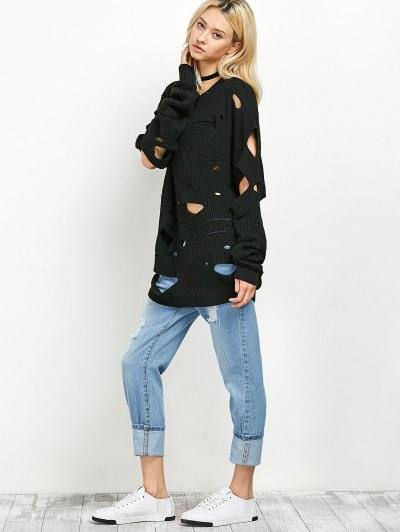 Cut Out Crew Neck Sweater - BLACK 2XL Mobile