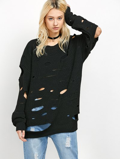 Cut Out Crew Neck Sweater - BLACK XL Mobile