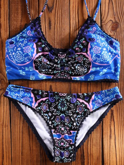 Printed Spaghetti Straps Unlined Bikini - BLUE S Mobile