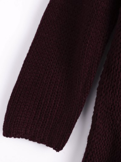 Dropped Shoulder Oversized Sweater - WINE RED L Mobile