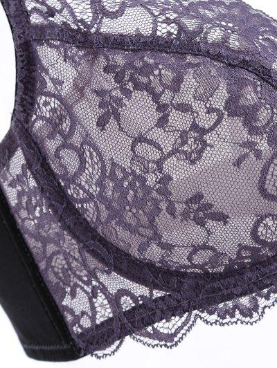 Bowknot Scalloped Lace Bra Set - PURPLE 90C Mobile