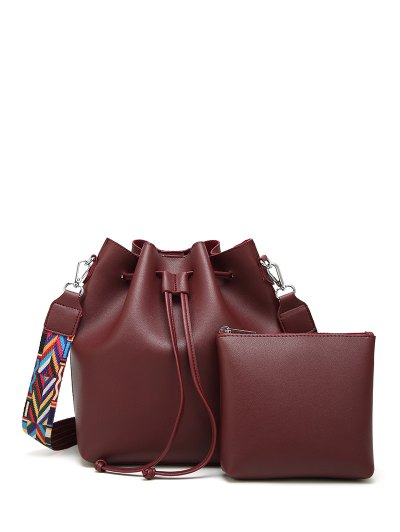 Drawstring Bucket Bag With Coin Purse - WINE RED  Mobile