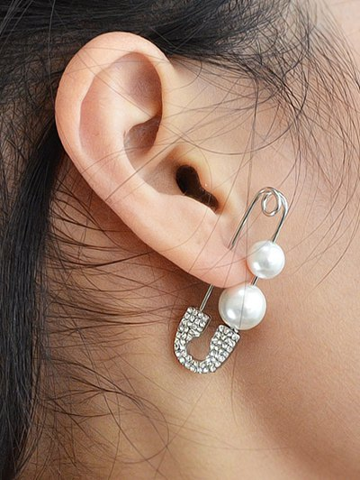 ONE PIECE Faux Pearl Rhinestone Pin Earring - SILVER  Mobile