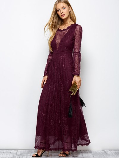 Floral Lace Evening Dress - WINE RED S Mobile