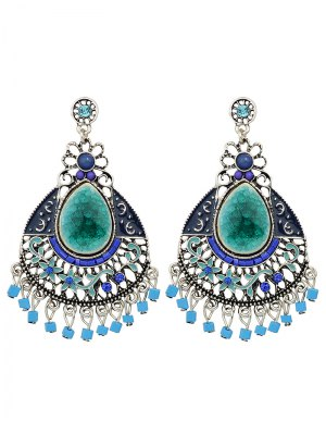 Rhinestone Faux Gem Flower Teardrop Earrings - Blue
