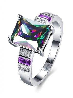 Geometric Rhinestone Circle Ring - Silver