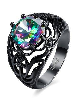 Rhinestone Flower Hollowed Ring - Gun Metal