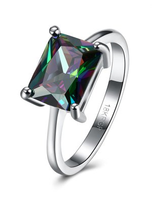 Geometric Artificial Zircon Ring - Silver