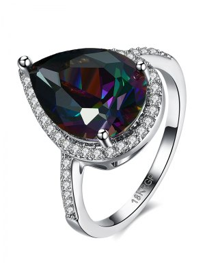 Teardrop Rhinestone Ring - Silver