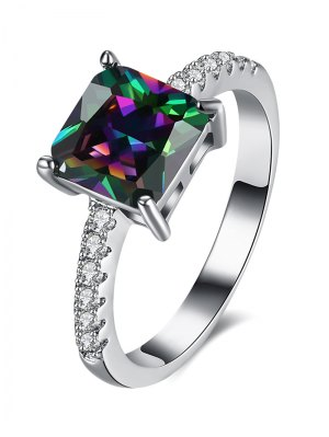 Artificial Gem Rhinestone Square Ring - Silver