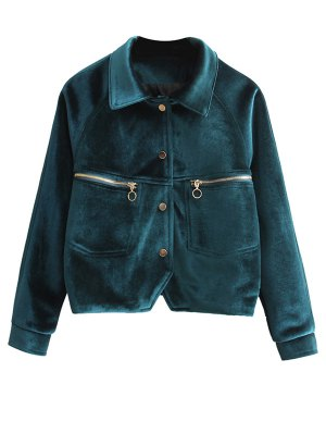Zipper Embroidered Velvet Jacket - Blackish Green