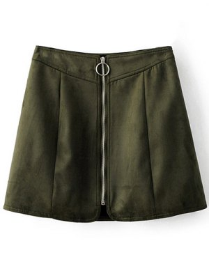 Zippered Suede Mini Skirt - Army Green