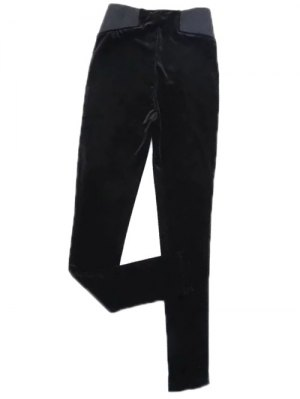 Velvet Narrow Feet Pants - Black
