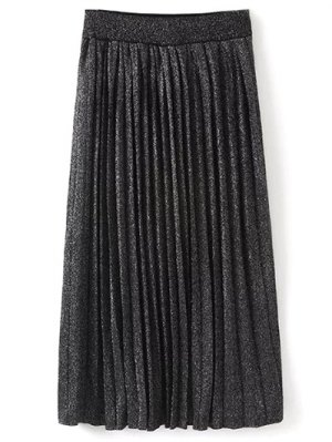 Knitted Pleated Maxi Skirt - Black