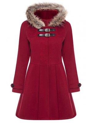 A Line Wool Blend Hooded Coat - Red