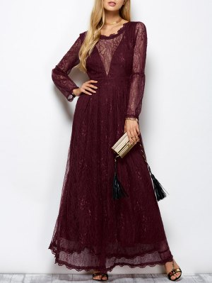 Floral Lace Evening Dress - Wine Red